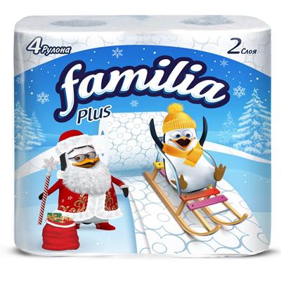 Туалетная бумага FAMILIA PLUS Белая «Зимняя коллекция» 2 слоя 4 рулона