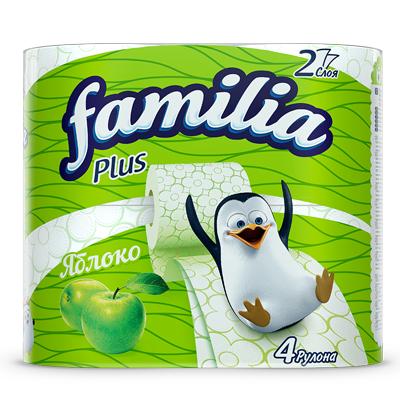 Туалетная бумага FAMILIA PLUS «Яблоко»  2 слоя 4 рулона