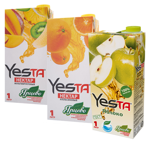 YESTA Нектар «Апельсин», «Мультифруктовый», «Яблочный» 1л