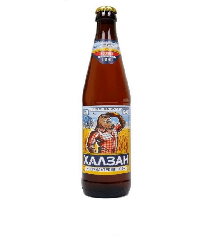 Пиво «Халзан» нефильтрованное светлое неф.,ст/б 0.45л.
