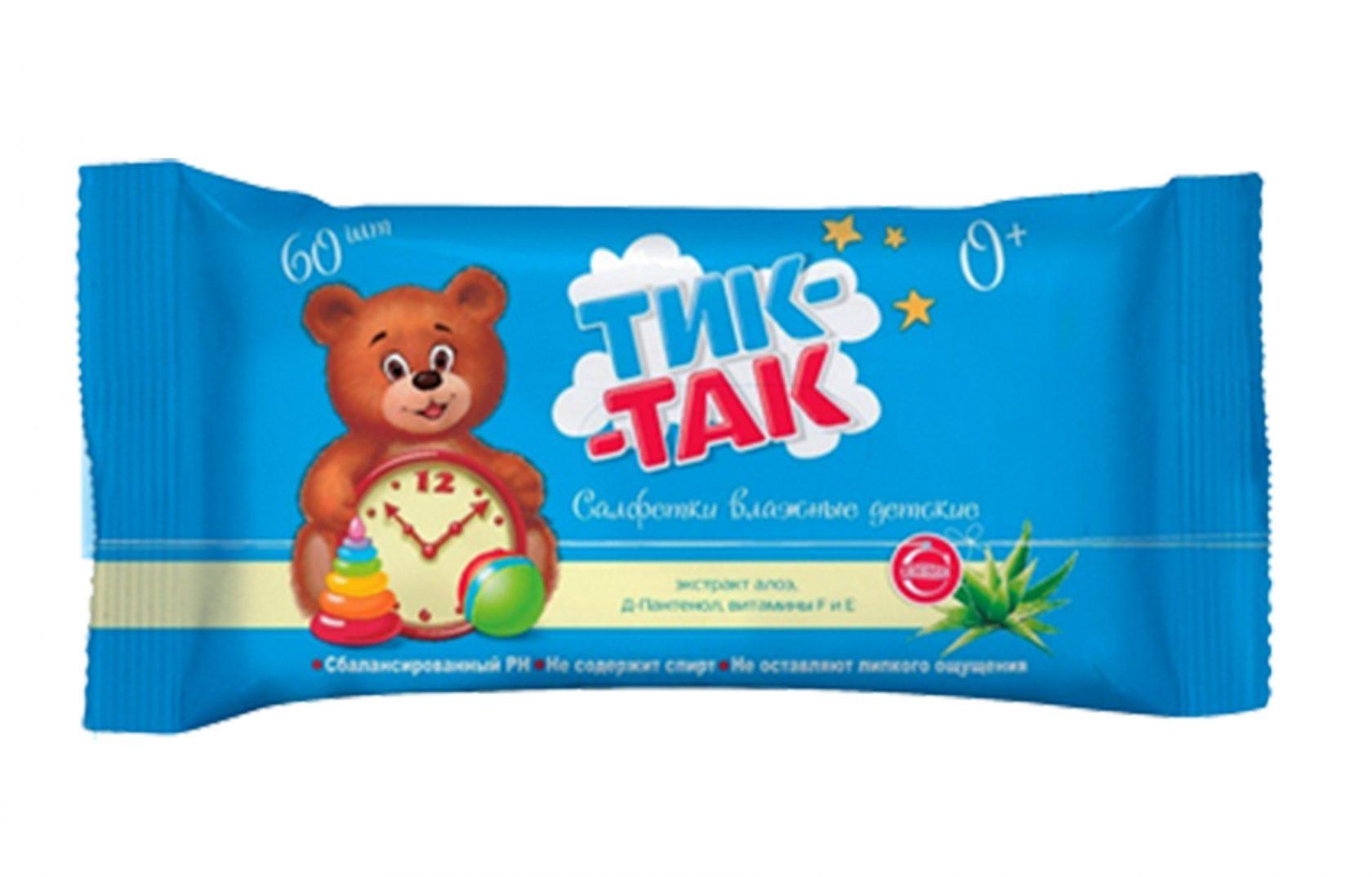 Салфетки ТИК-ТАК Детские влажн. 60шт Алоэ/Д-Пантенол/Витамин F и Е
