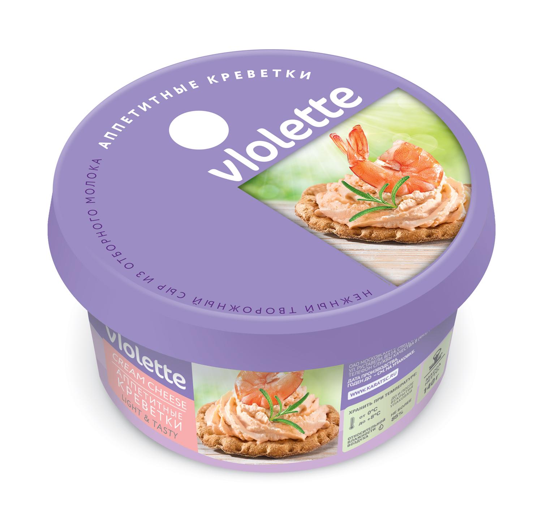 Творожный сыр «Виолетта» п/кор 140г. — с креветкой