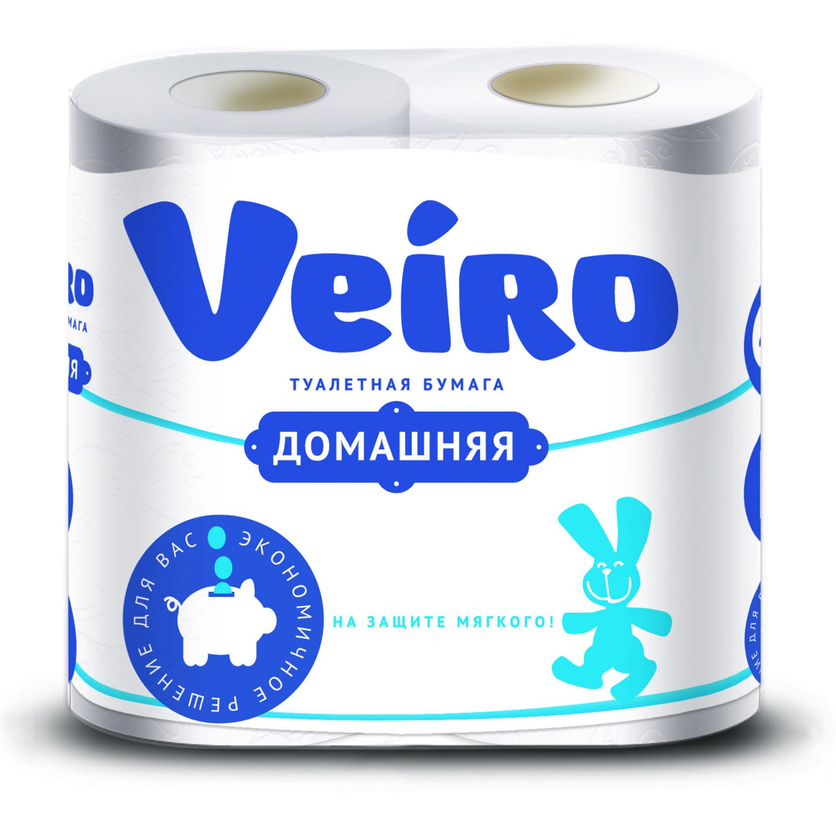 ВЕЙРО Туалетная бумага Домашняя 2-х слойная БЕЛАЯ, 4 шт