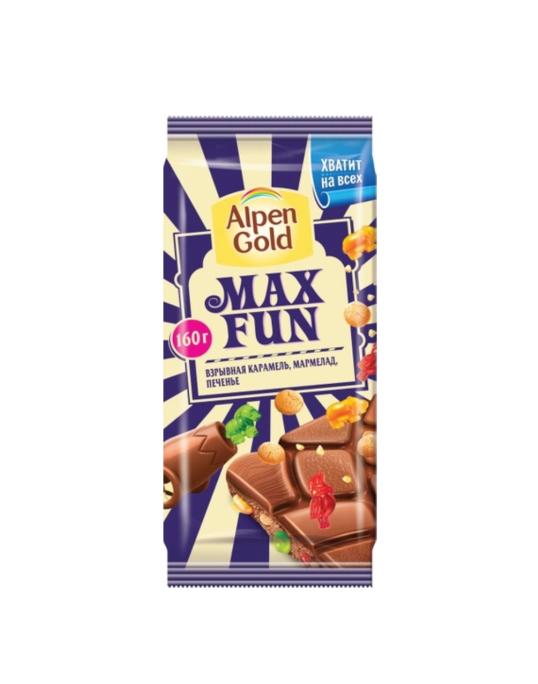 Шоколад  «Alpen Gold» MAX FAN  160гр.  — Карамель/Мармелад