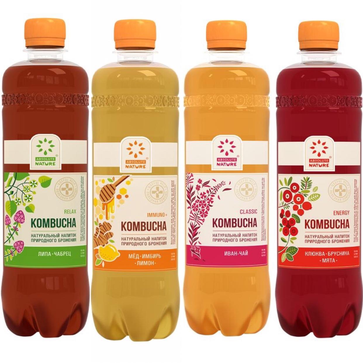 Напиток б/а натурал. брожения  kombucha 0.5л.  -классик  -энергия -инвино -релакс