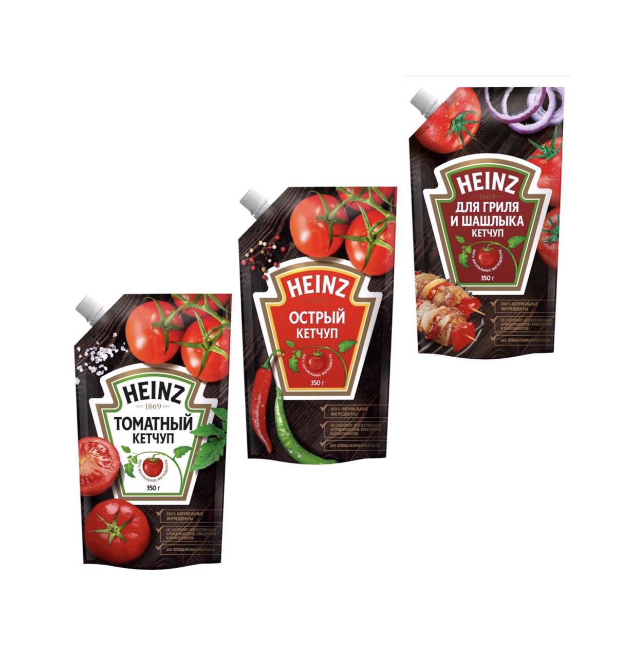 Кетчуп HEINZ 350 г. дой-пак -для гриля и шашлыка -острый -томатный