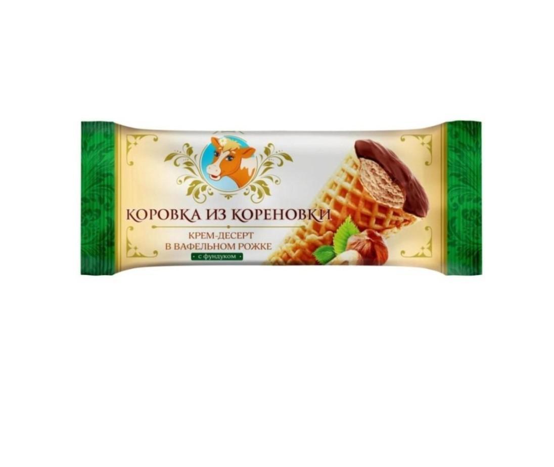 Крем-десерт сливочн. с фунд. глазир. 19,0%, ваф. рожок, 40 г.