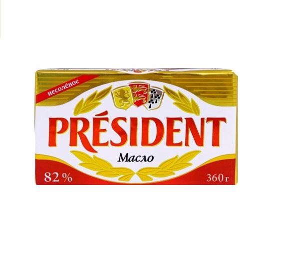 Масло «PRESIDENT»  кисло-сливочное, несоленое высший сорт 180г 82%