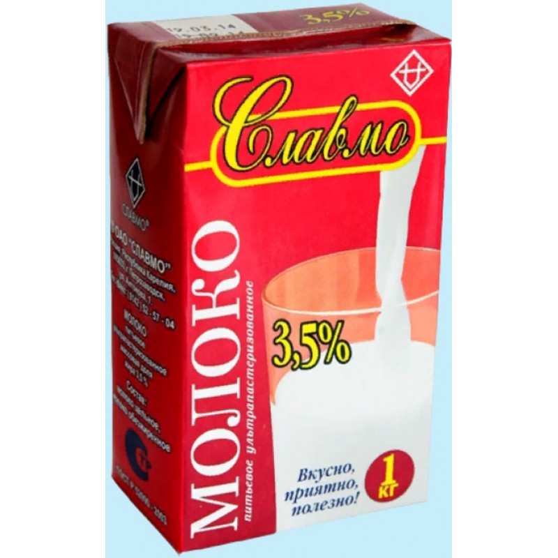 БЗМЖ Молоко «Славмо» ультрапаст. 3,5% 1л