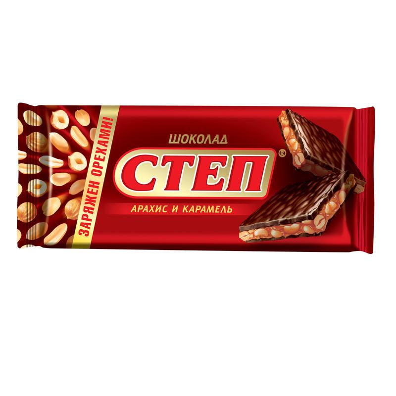 Шоколад Славянка Степ молочный 100г Арахис/Карамель