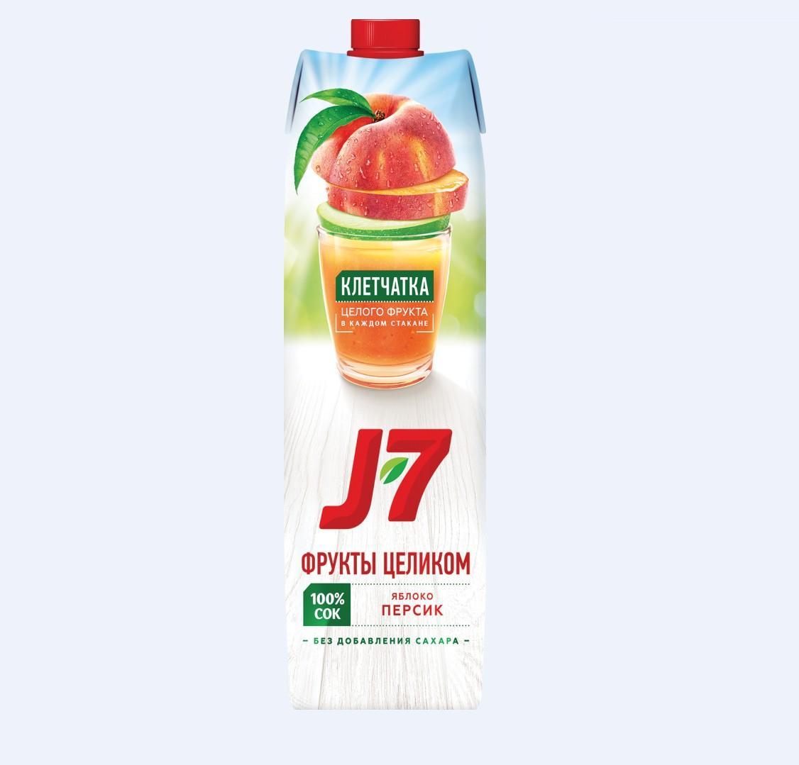 Соки и Нектар  J7 0,97л.   -Яблоко/персик с мякотью