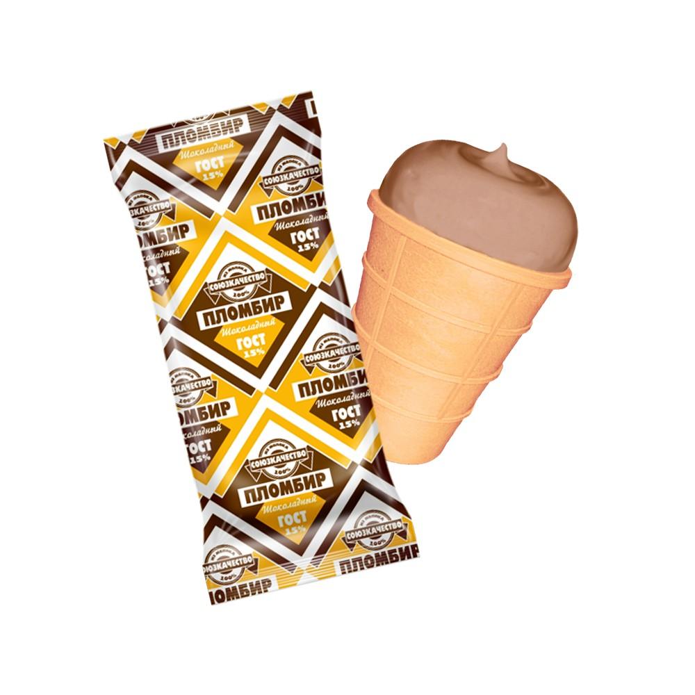 БЗМЖ Мороженое Союз Качество Пломбир ваф.стак. 15% 80г шоколадный