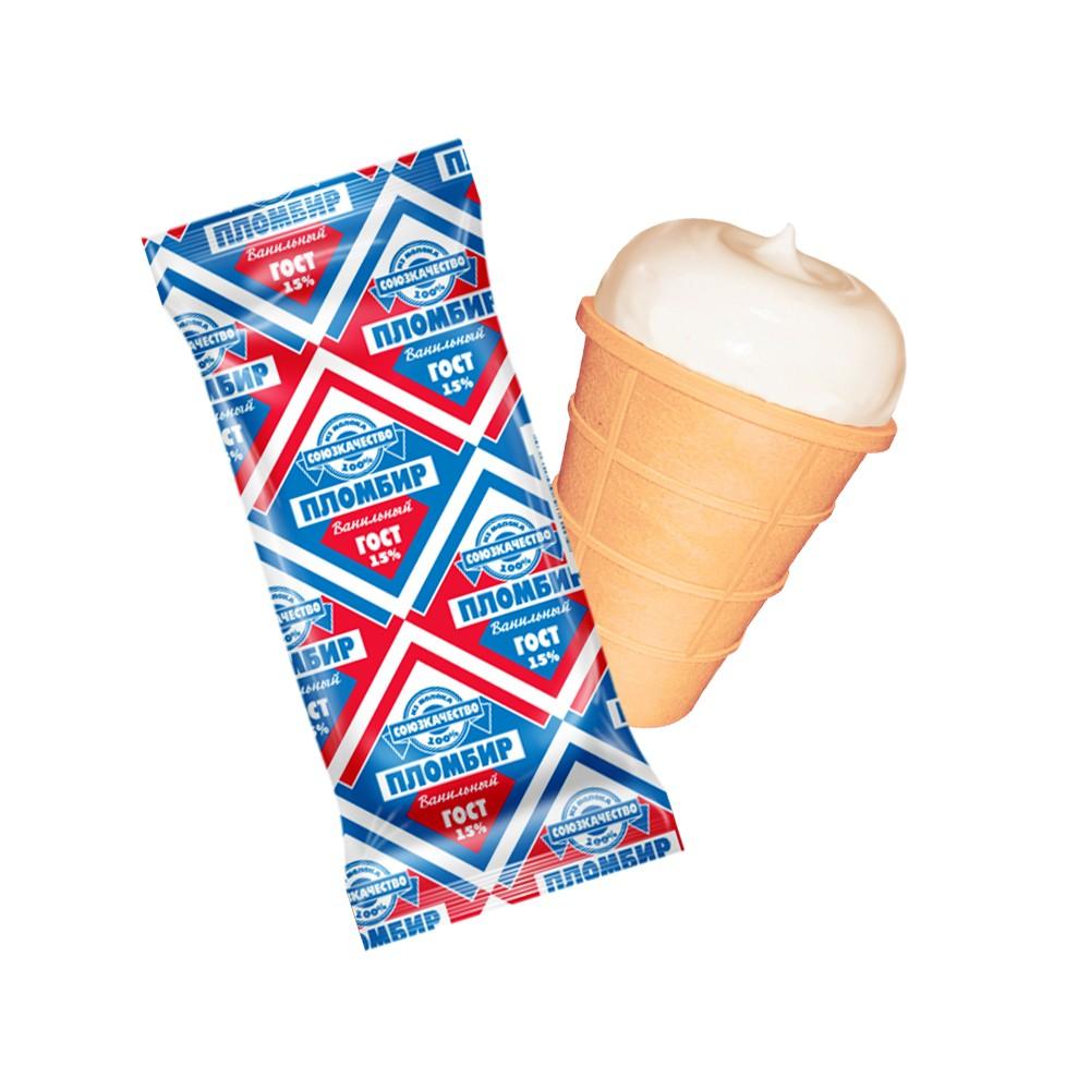 БЗМЖ Мороженое Союз Качество Пломбир ваф.стак. 15% 80г ванильный